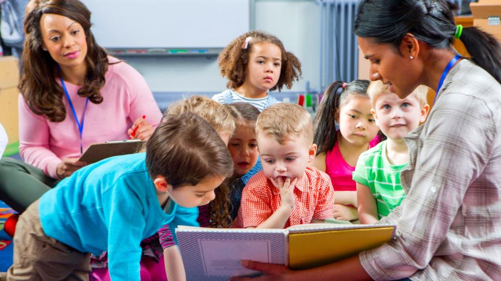 nursery children listening to teacher read a story