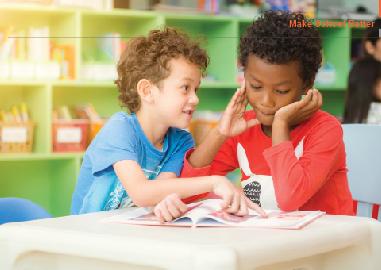 children reading book together