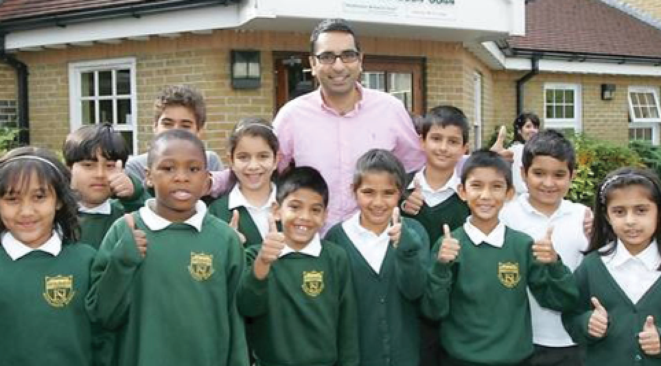 Headteacher and pupils of Highlands Primary School