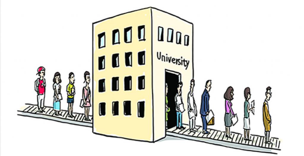 Cartoon depicting conveyor belt from university to work