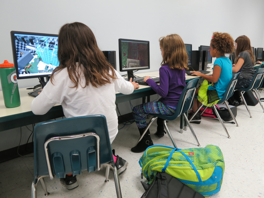 Young Students learning on computers