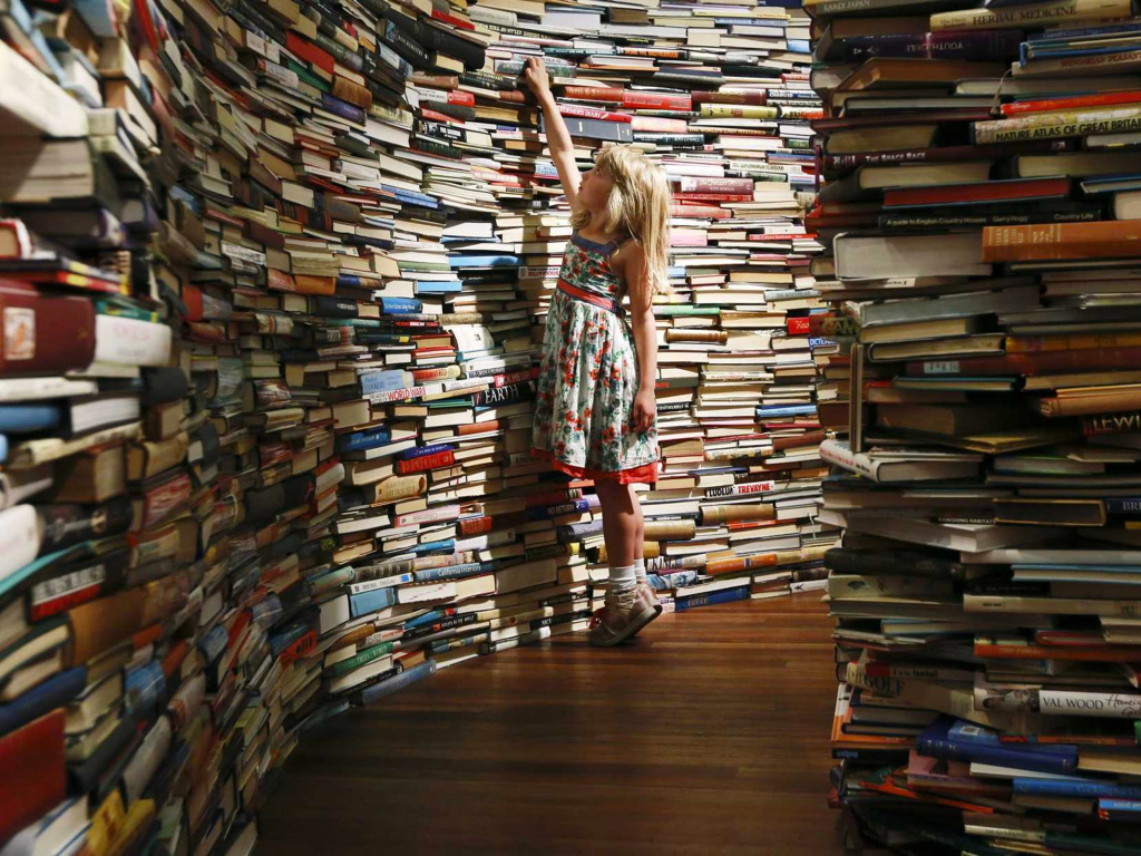 little girl reaching at a wall of books