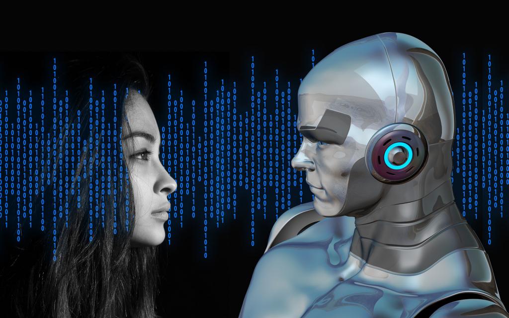Woman and CGI robot
