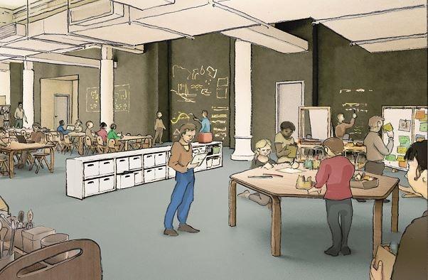 sketch of open school workspace