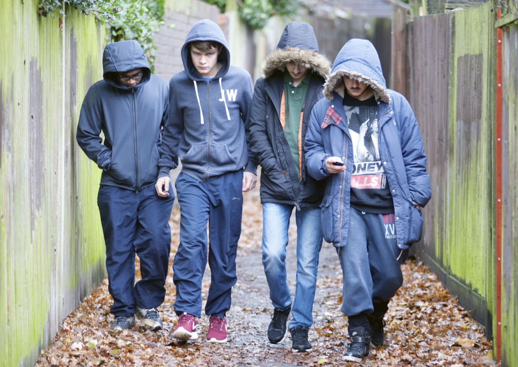 Group of youths in hoods walking