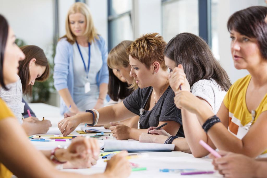 women staff around desk in discussion