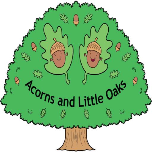 A tree and acorn logo for a nursery