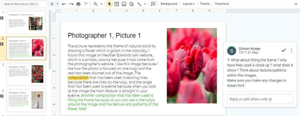 Picture of a tulip with student comments on  teh technique and composition and  teacher feedback