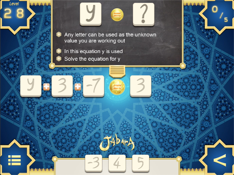 A screen shot of an online maths game featuring algebraic equations