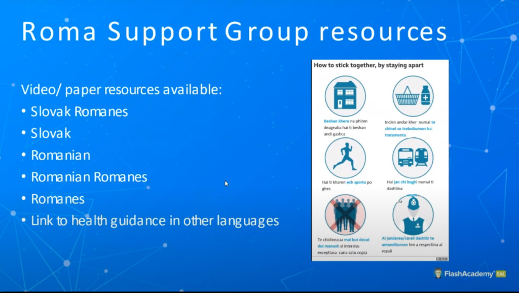 Powerpoint slide with a poster showing Covid restrictions in symbols and Slovak and Romanian