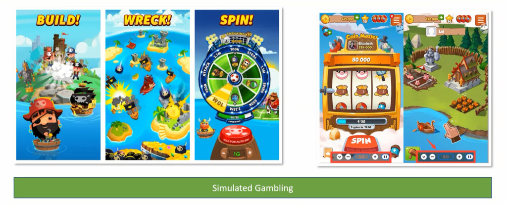 Three pictures of online games and two of gambling