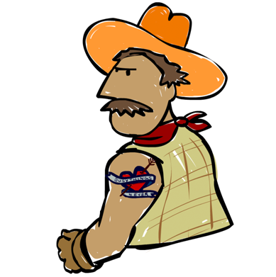 a cartoon of a cowboy with a tattoo on his arm