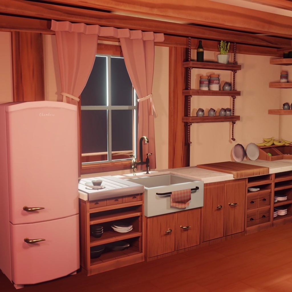 An illustration of a countgry kitchen with window, rustic dresser and fridge i nteh style of a child's picture book